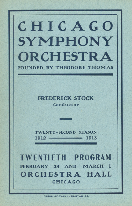 First program to feature the name Chicago Symphony Orchestra, February 1913
