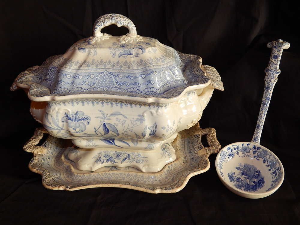 G95.2.117a-d  Transferware soup tureen and ladle, c.1837. Gift of the estate of Martha Lee Batchelder.