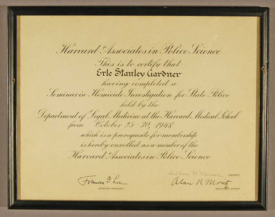 Gardner's membership certificate in the Harvard Associates in Police Science, signed by Frances Glessner Lee, October 1948