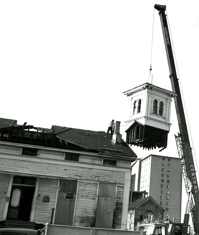 Removal of cupola, November 1977