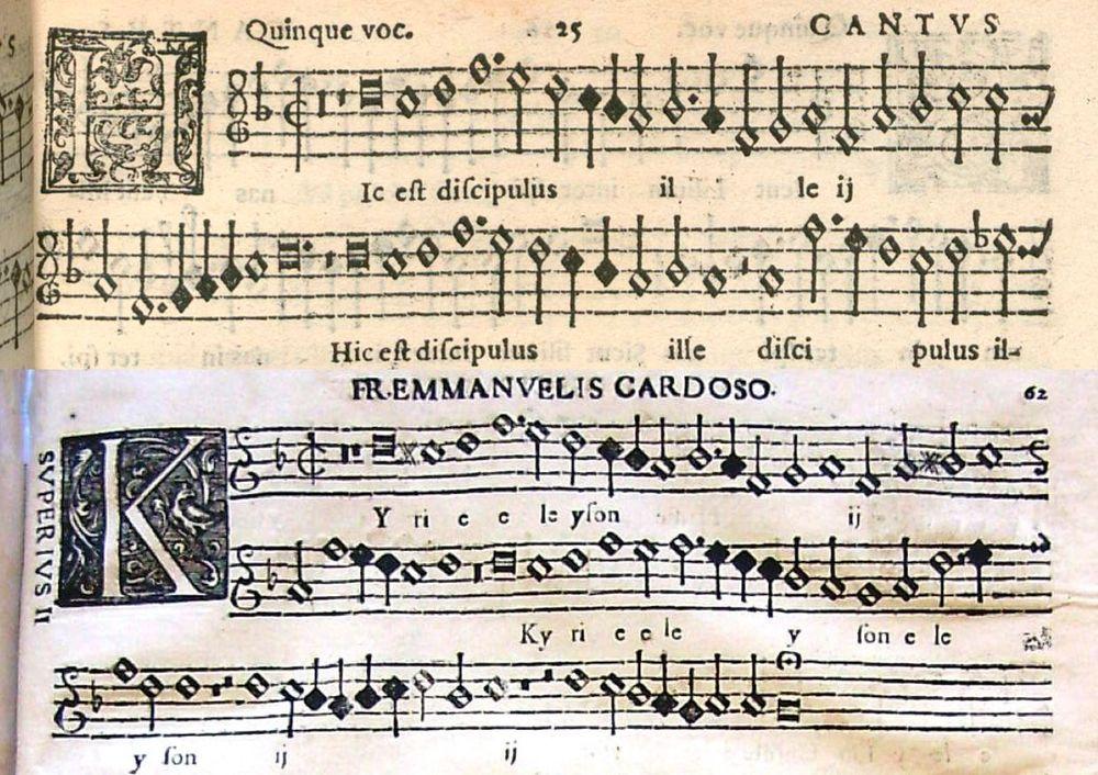 Top: Palestrina Cantus; Below: Cardoso Superius II