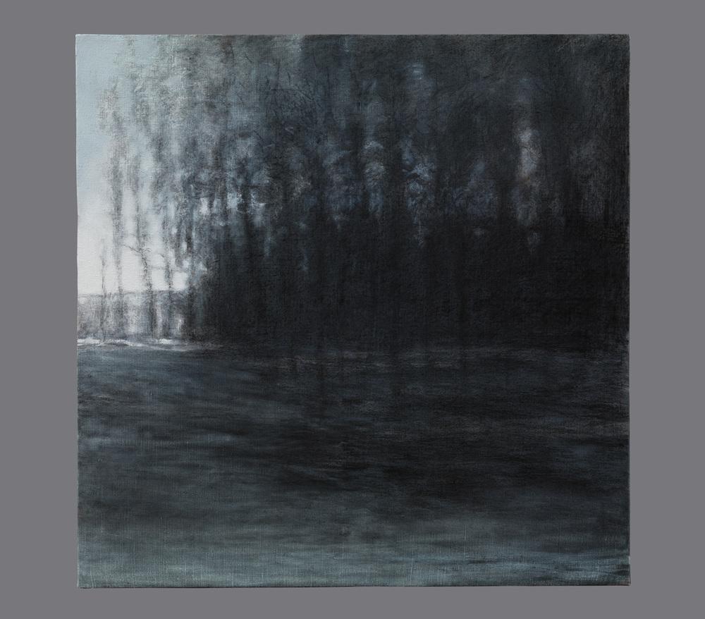 En janvier. Fusain et acrylique sur toile. 100x100 cm. 2016