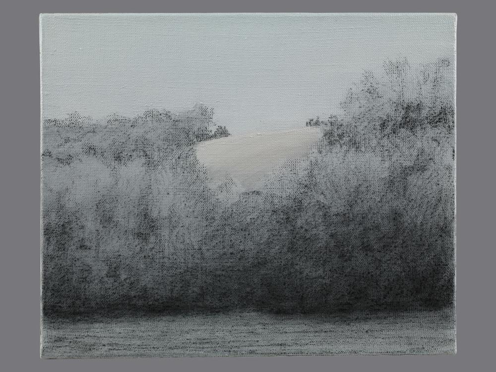 Vers la courbure. Fusain et acrylique sur toile. 38x46 cm. 2015
