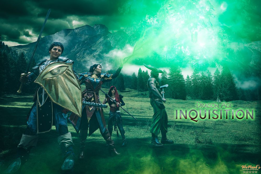 Laura  is Cassandra,  Sarah Cain Cosplay  is The Inquisitor,  Charles DeGrooty  is Morrigan,  Jesse  is Iron Bull | Photo by  WeNeals Photography