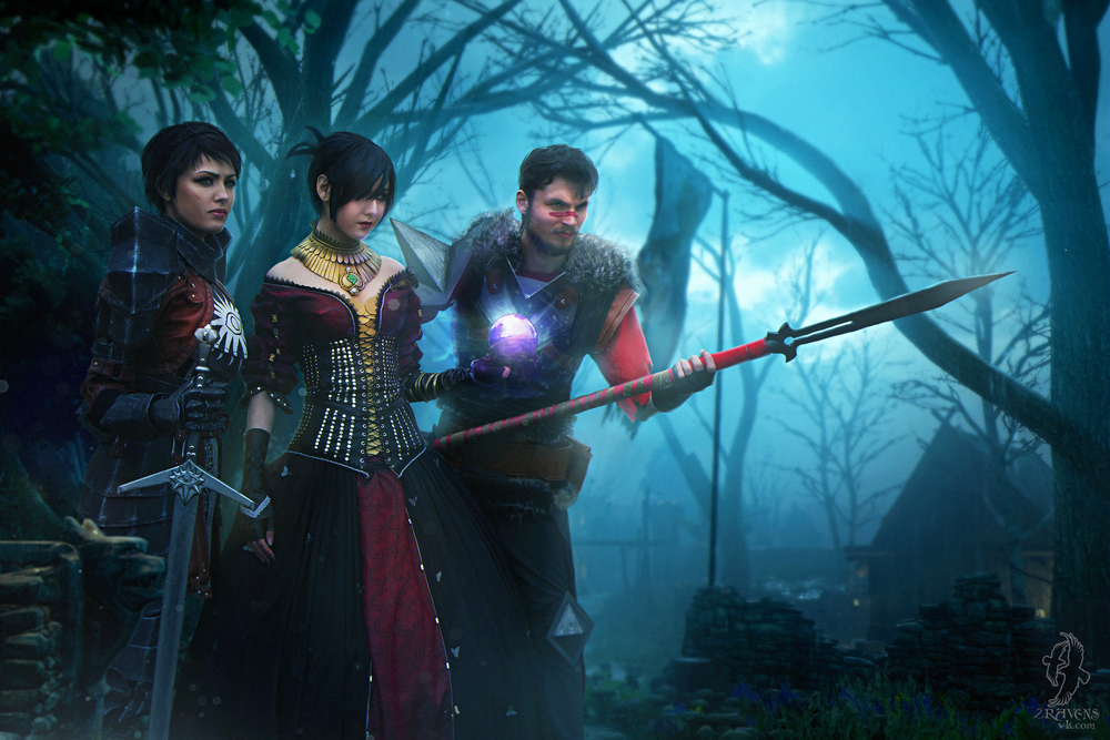 Ketoh  is Morrigan,  Hydra Evil  is Cassandra, Bylkin is Hawke | Photo by  2 Ravens