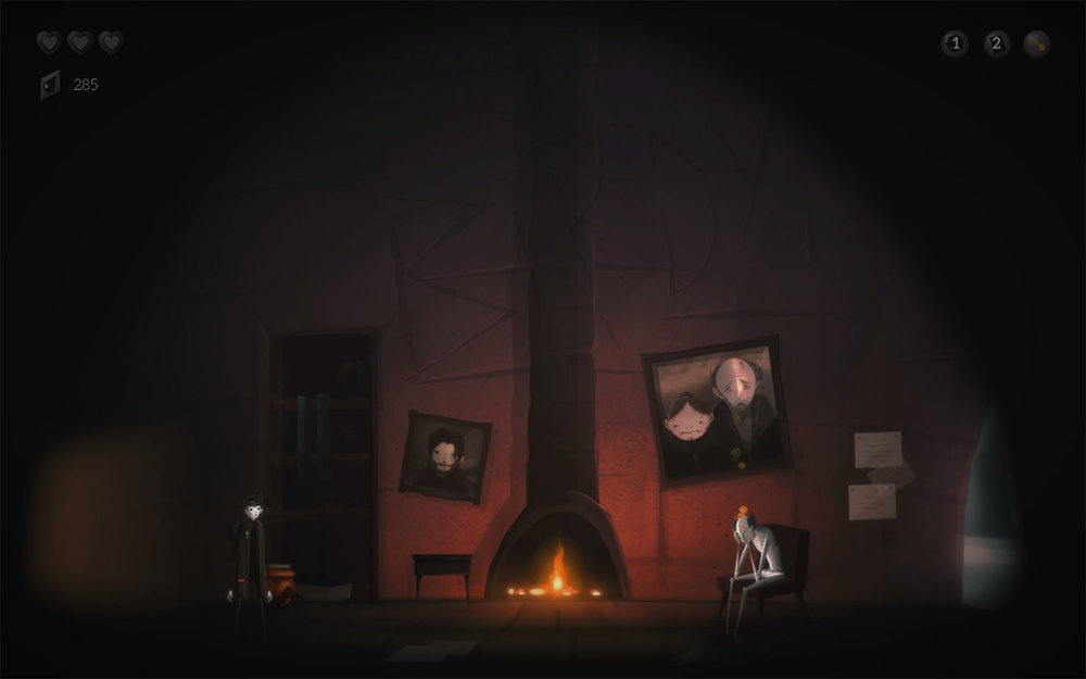 Teddy (left) and Mr. Dicky. The warm/cool contrasts in the art design make for a somber look and feel to the game.