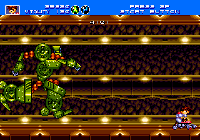 Absolutely stunning sprite work can be seen in this intense boss battle in  Gunstar Heroes.