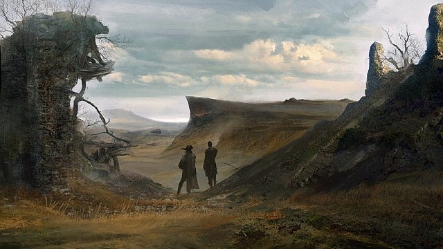 The concept art sets the tone for a picturesque sweeping rugged landscape