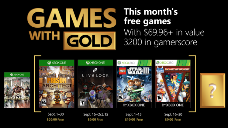 September Lineup For Xbox Games With Gold Revealed! — GameTyrant