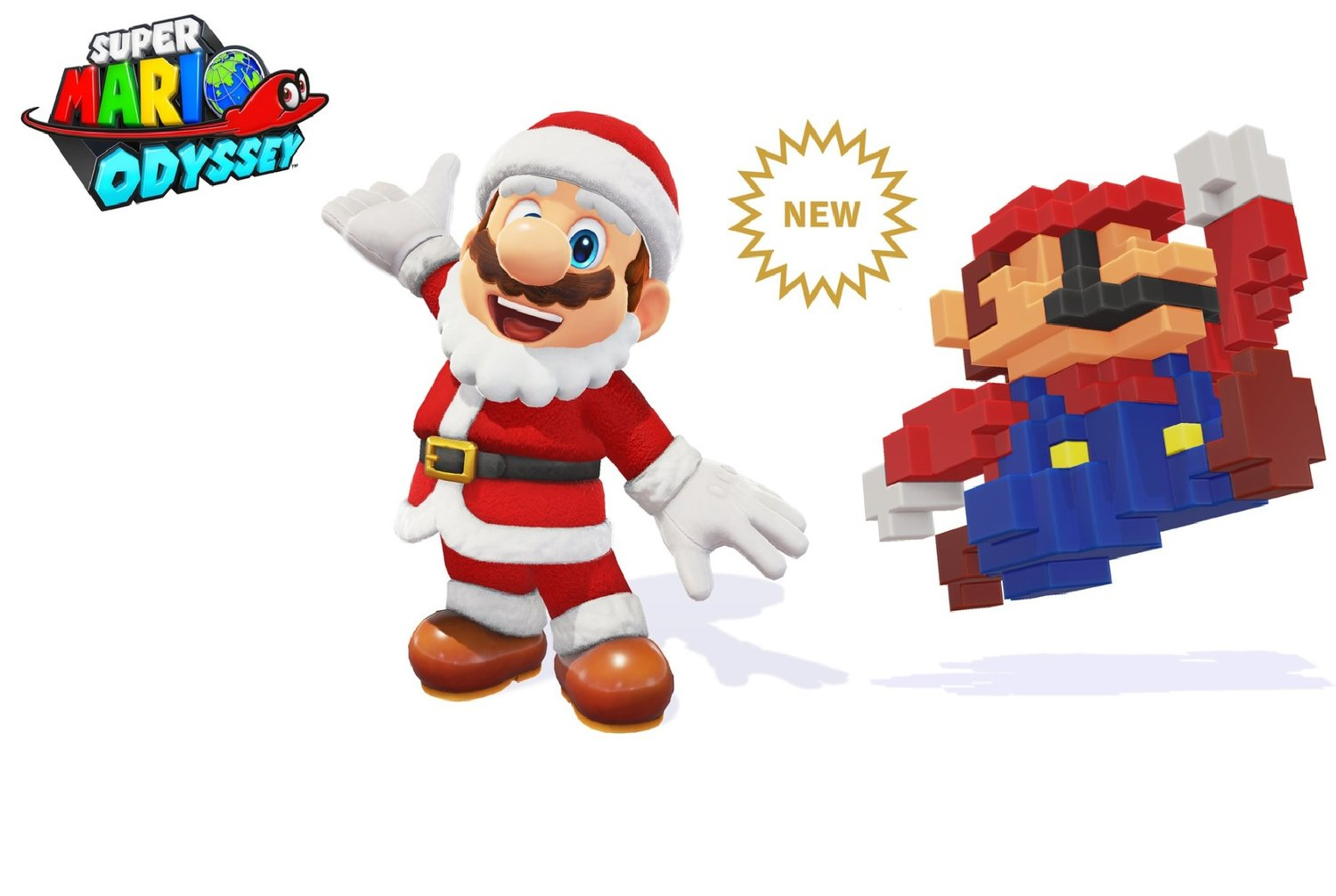 New Holiday and 8-bit Skins Available Now For Super Mario