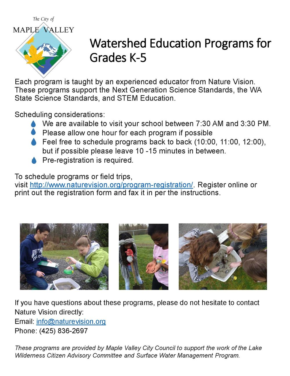 Free programs for schools nature vision city of maple valley elementary falaconquin