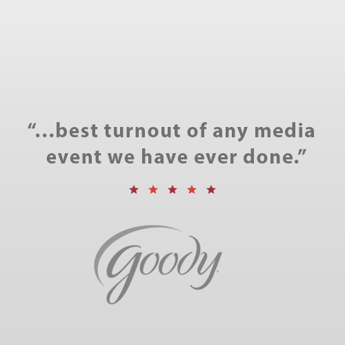 """""""Thank you Bullseye for everything you did to make our first big holiday media event amazing! Because of your strategic efforts, it was the best turnout of any media event we have ever done! We can't thank you enough for your help and making every detail such a success!""""   Josie Rosensteel,  Account Executive, Newell Rubbermaid"""