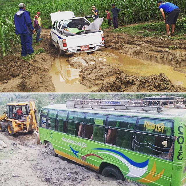 Monsoon season in Nepal is notorious for making challenging roads, even more challenging. That doesn't stop our field teams, from visiting our remote projects. When we can't drive, we do what everyone in Nepal does - we walk! #nothingisimpossible #cloudbasefoundation #karmaflights #rebuildnepal