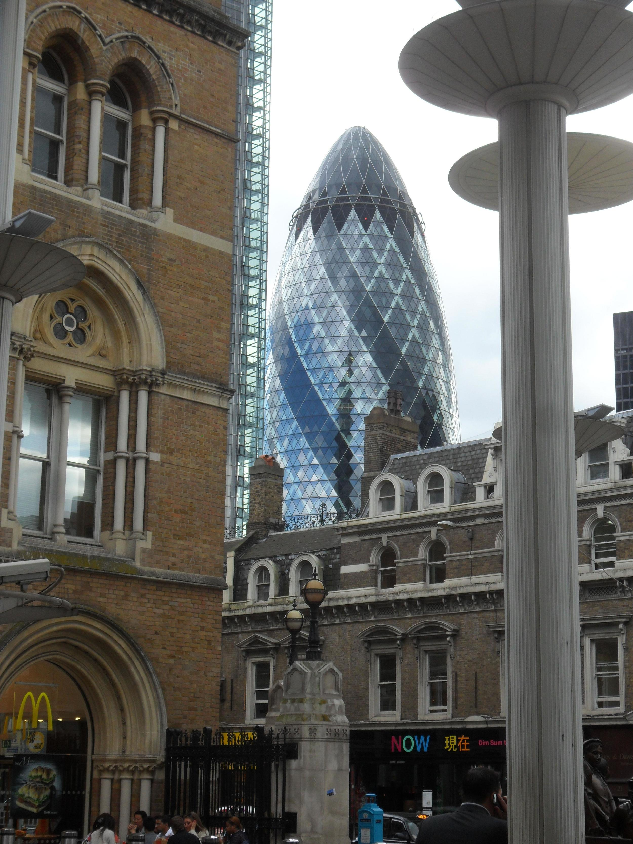 Gherking building in London fronted by old buildings.  Photo taken by Martin Pierce hardware
