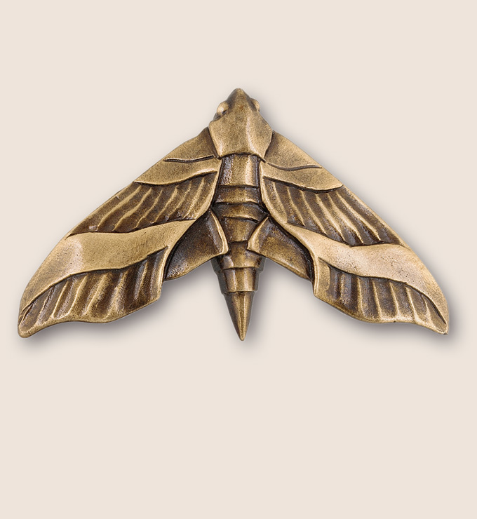 A beautifully detailed moth door or drawer pull from Martin Pierce Animal Collection of Hardware