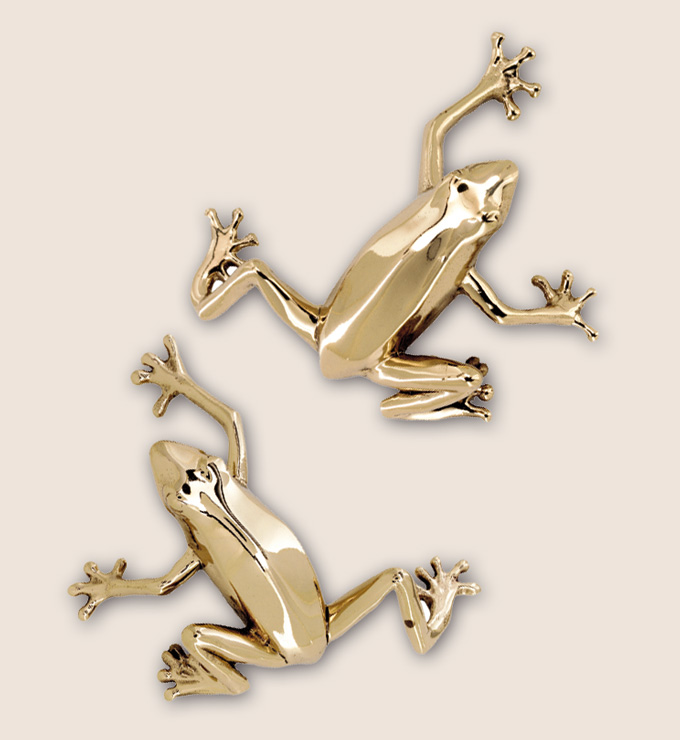 Polished brass frog pull can be made for both right and left handed access by Martin Pierce