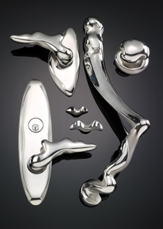 Ergo collection of door hardware in contemporary stainless steel by Martin Pierce Hardware