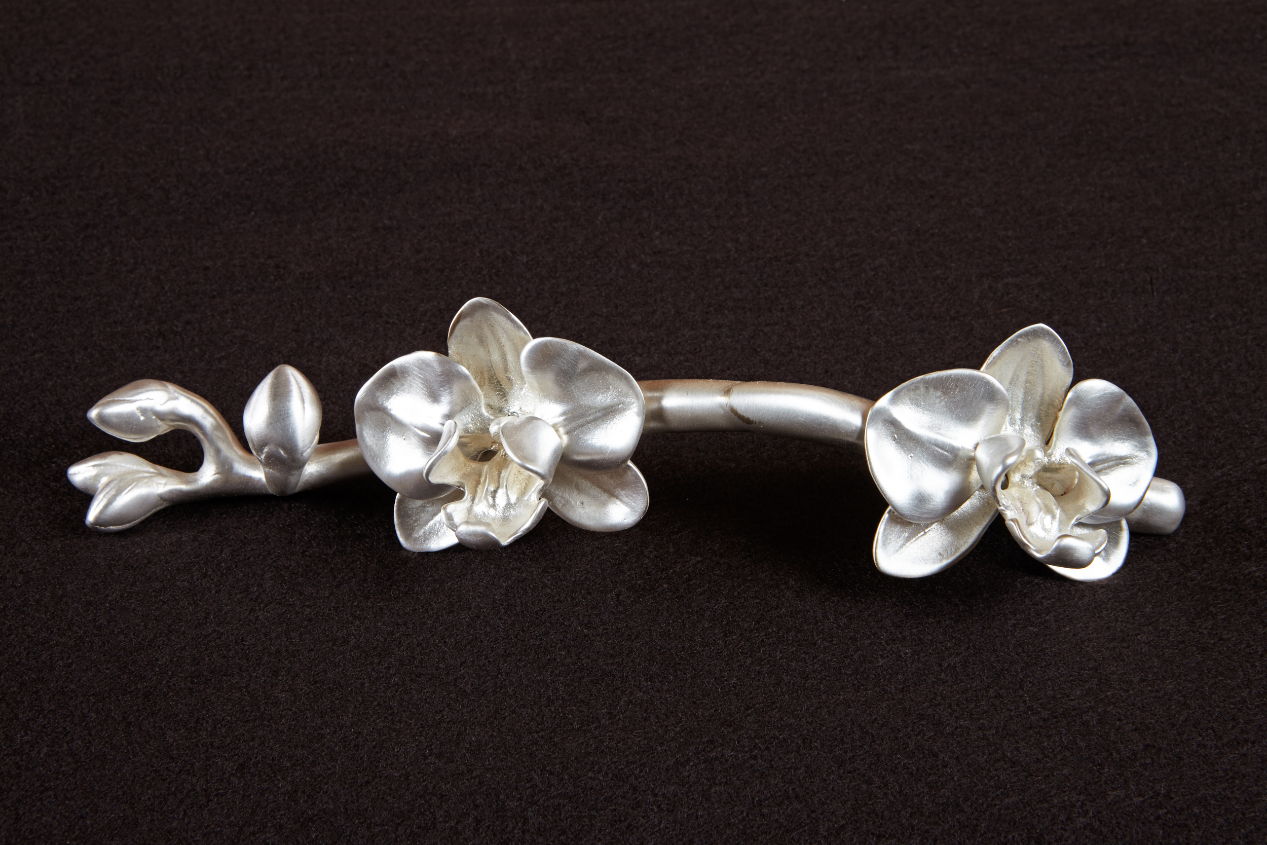 The height of elegance, Martin Pierce's silver plated orchid stem pull.  Notice all the grooved areas. Martin Pierce Hardware