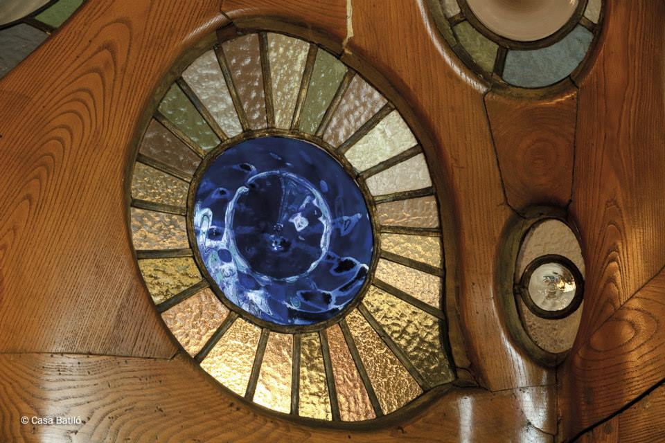Stained glass embellishments at Casa Battlo Barcelona Spain