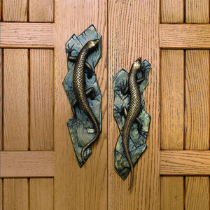 Lizard entry door pull from Martin Pierce Los Angeles CA  Photo Doug Hill
