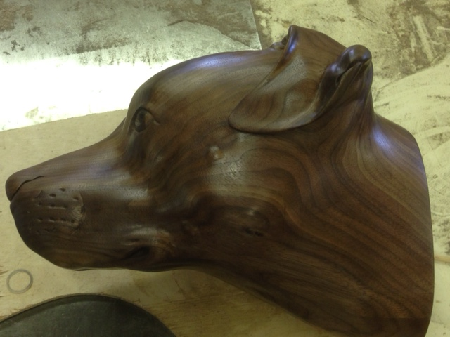 Wood sculpture of dog by Martin Pierce Hardwood Los Angeles CA  90016