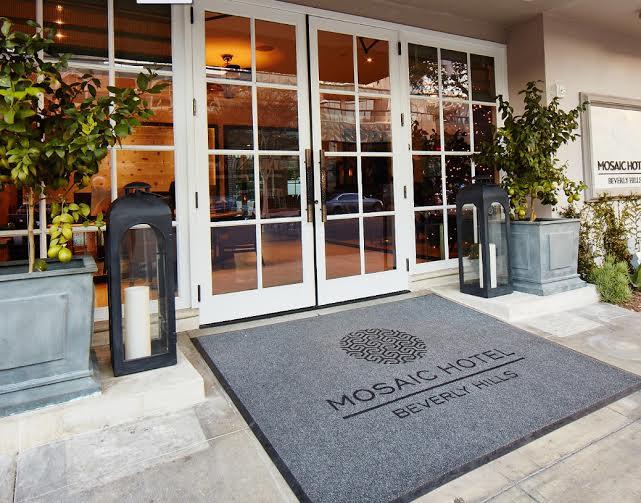 Mosaic Hotel Beverly Hills CA Designer Intra-spec, architect  Kollin Altomare  Morphic door handles from Martin Pierce Hardware Los Angeles CA