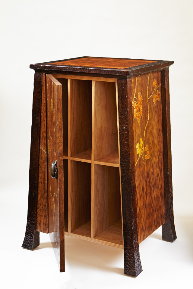 Small armoire with japanning detail from Martin Pierce Hardware Los Angeles Ca  90016 Photo Doug Hill