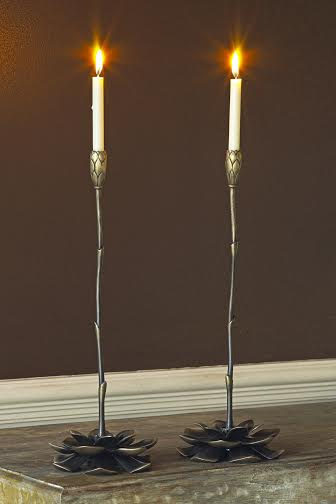Bronze candlesticks  by Martin Pierce Hardware Los Angeles Ca  90016  Photo Doug Hill