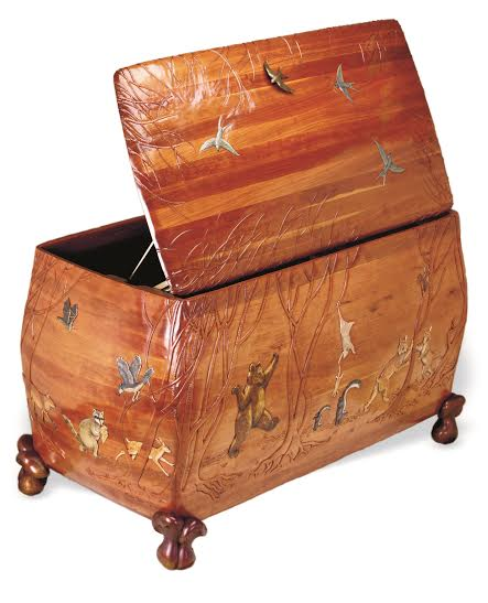 Swallow pull  on custom toy chest by Martin Pierce Hardware Los Angeles Ca  90016  Photo Doug Hill