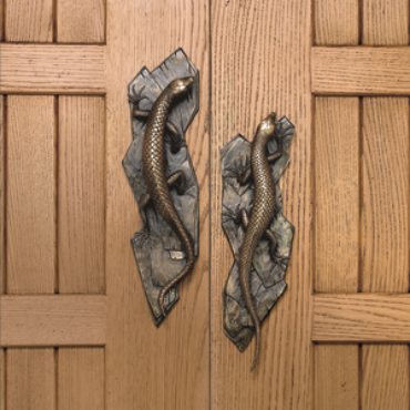Lizard door handles from Martin Pierce Hardware Los Angeles Ca  90016    Photo Doug Hill