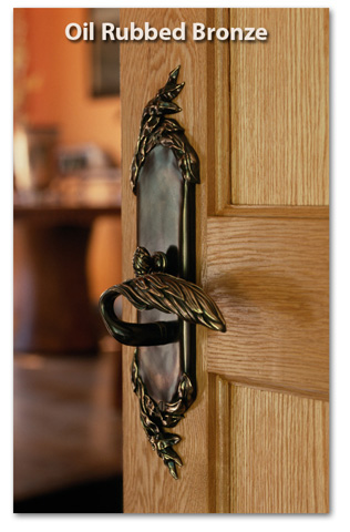 Willow entry door handle in oil rubbed bronze from Martin Pierce Hardware Los Angeles Ca 90016 Photo Doug Hill