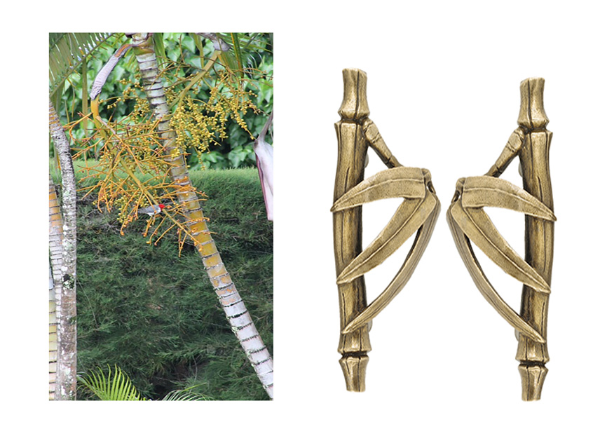 Golden Palm with resting Red Headed Cardinal                                   Bamboo Cabinet Pull cast in bronze