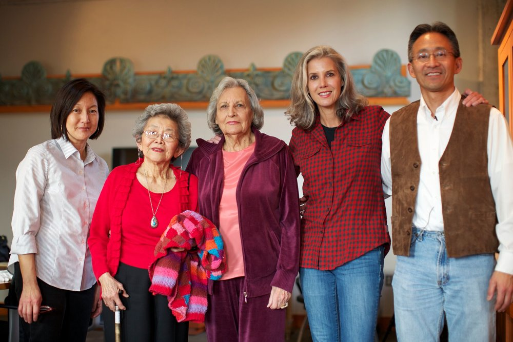 The filmmaker with cast members Ruth McInroy, Alice Takemoto, Rosalie Santine Gould, and Paul Takemoto