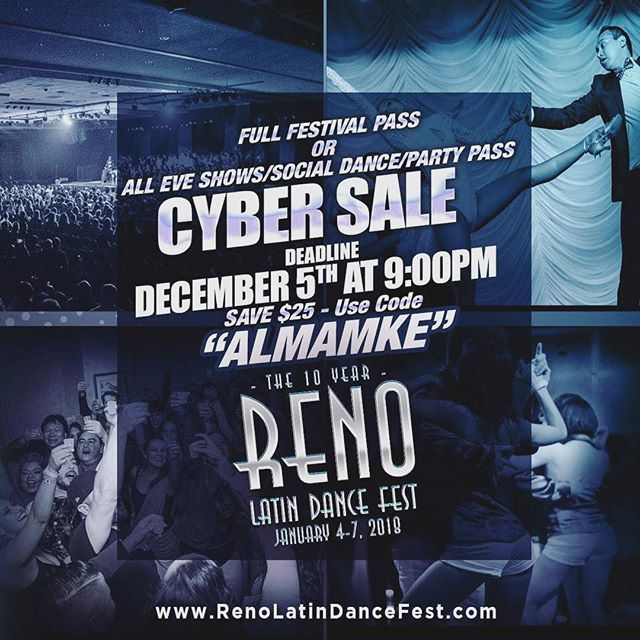 "Discount Deadline THIS Tues. Dec. 5th at 9:00PM Save $25 - Use Code ""ALMAMKE"" www.RenoLatinDanceFest.com January 4-7, 2018 #The10Year . . . . #reno #RLDF #reno2018 #renomode  #almamke #almamilwaukee #festival #almateams #almateamsworldwide #almalatina #milwaukeefirsttime #mkeinreno"