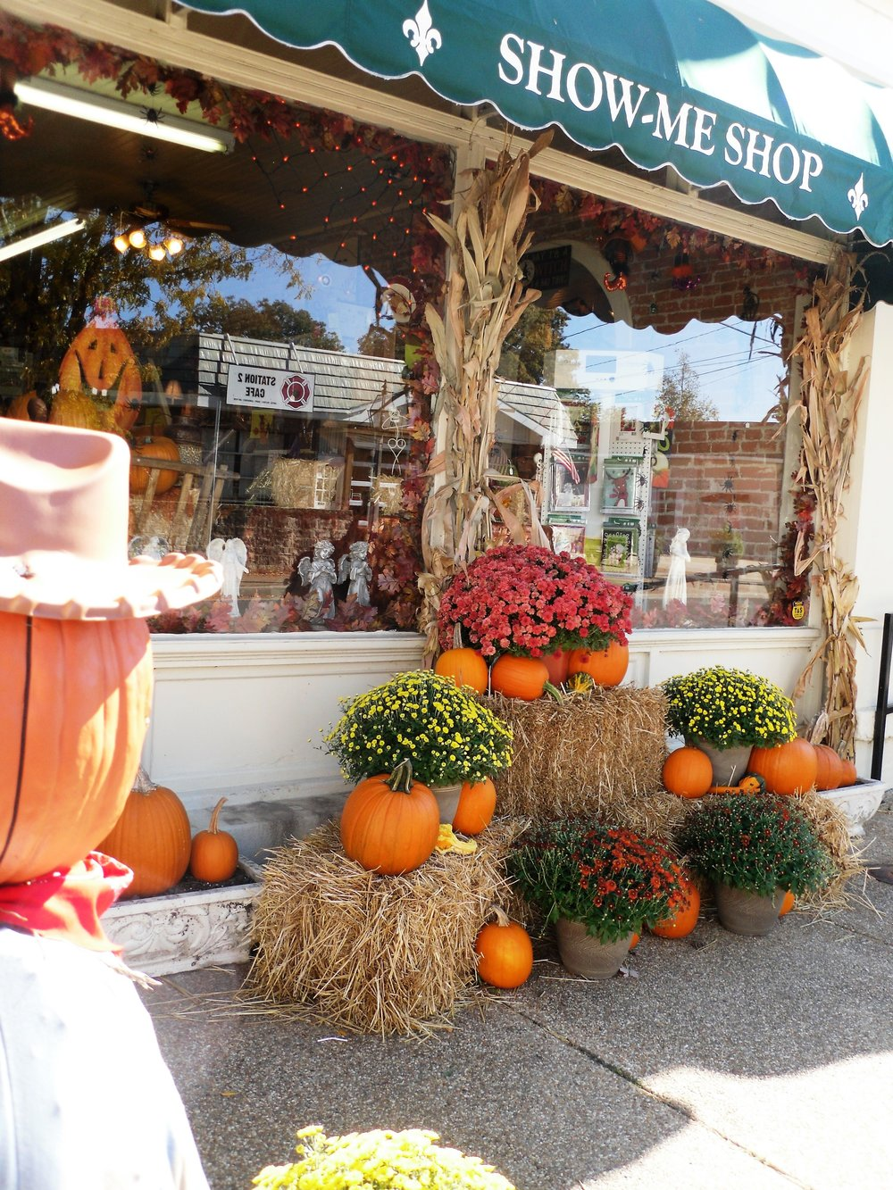 Fall flair in abundance outside of the ever-popular Show Me Shop in historic Ste Genevieve.