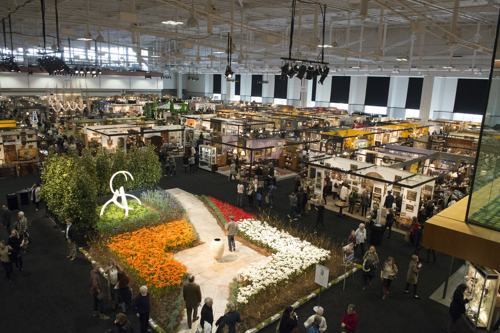 The Show floor is home to 150 exhibitor booths and magnificent gardens for more than 15,000 attendees to enjoy during the festive weekend!  Photo credit: Antiques and Garden Show of Nashville