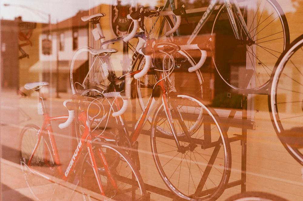 Seattle Film Works Photowalk - Bellbrook, Ohio - Bikes in a Window