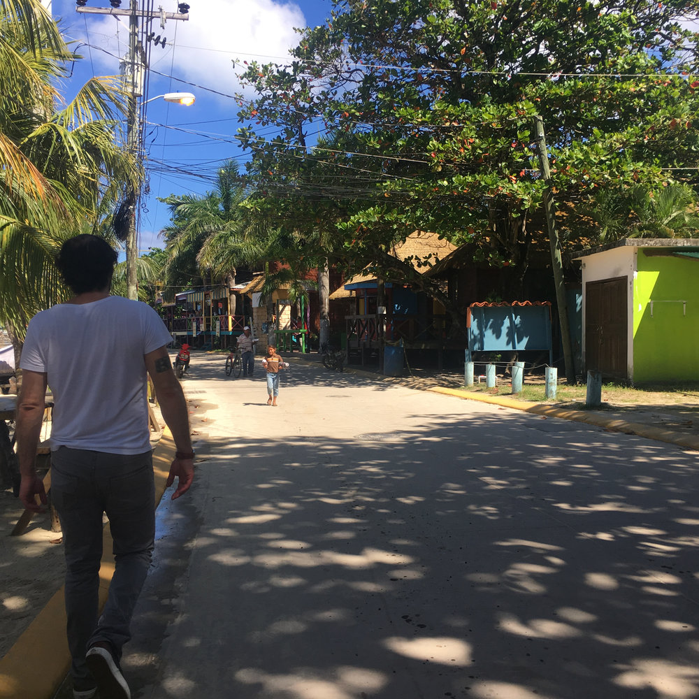 Walking the streets of West End, Roatan, Honduras