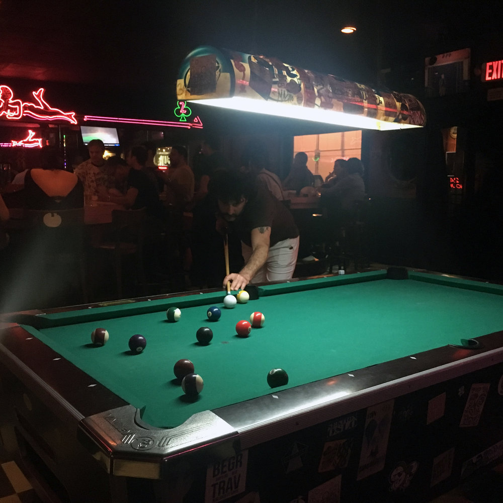 Pool sharking in Mac's Club Deuce, Miami, Florida.