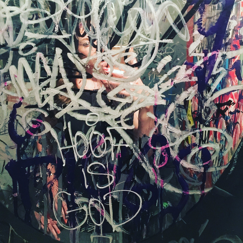Mirror in Upstairs Restroom of  Remedy , collaboration of unknown artists, Pittsburgh, PA  |  Photography by me ( @sara_lynn___  on IG)