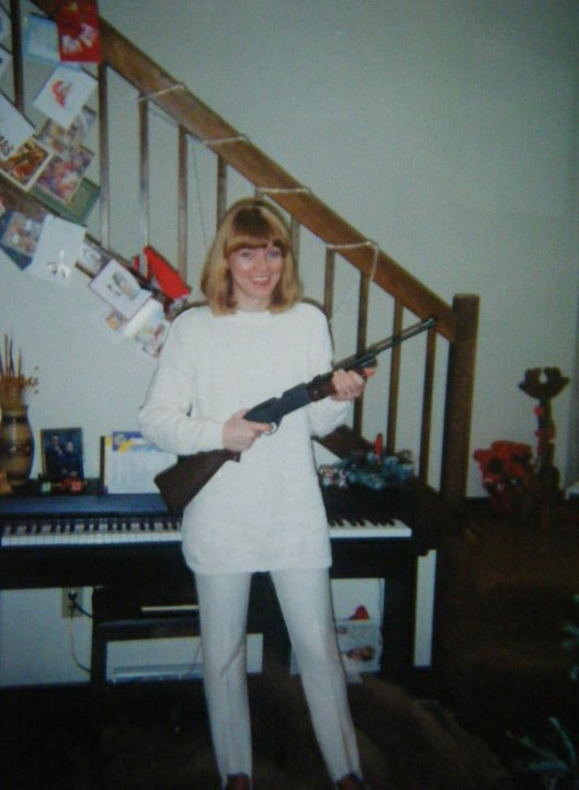 "Mom at Christmas wielding her ""diamond studded fishing rod"" (Ruth family joke), 1994 (I think), Fayetteville, PA"