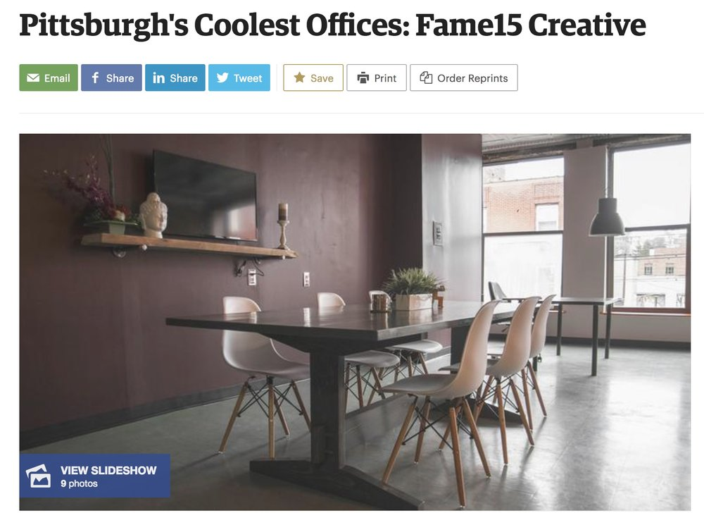 PITTSBURGH BUSINESS TIMES: PITTSBURGH'S COOLEST OFFICES - September 25, 2017