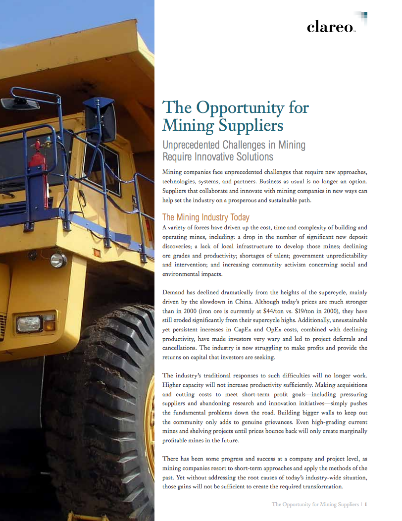 The Opportunity for Mining Suppliers