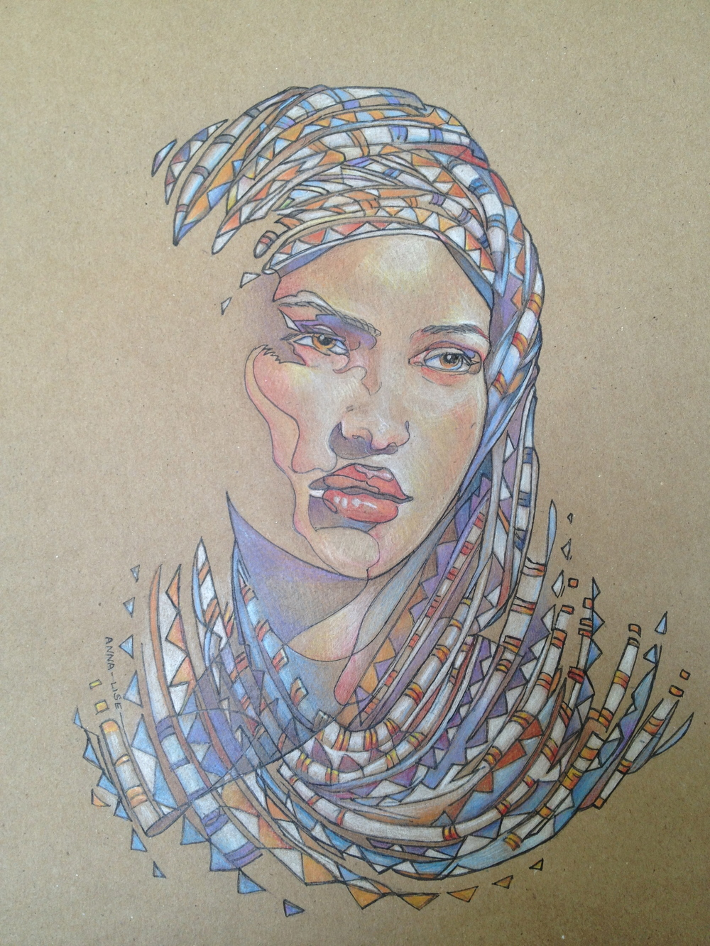 Color pencil and ink on paper bag  -  'Skjert'  -  18 x 24 in.  -  by Anna-Lise of She's in the Studio