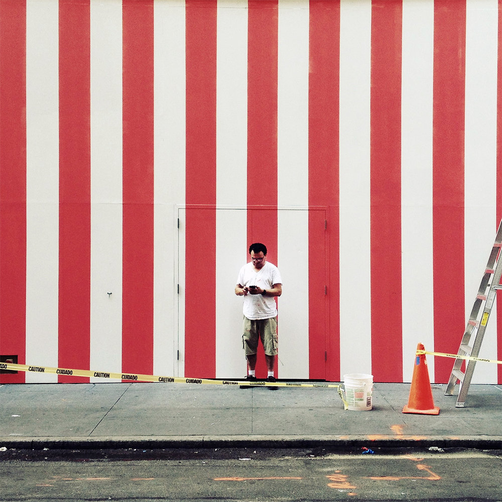 Man and stripes