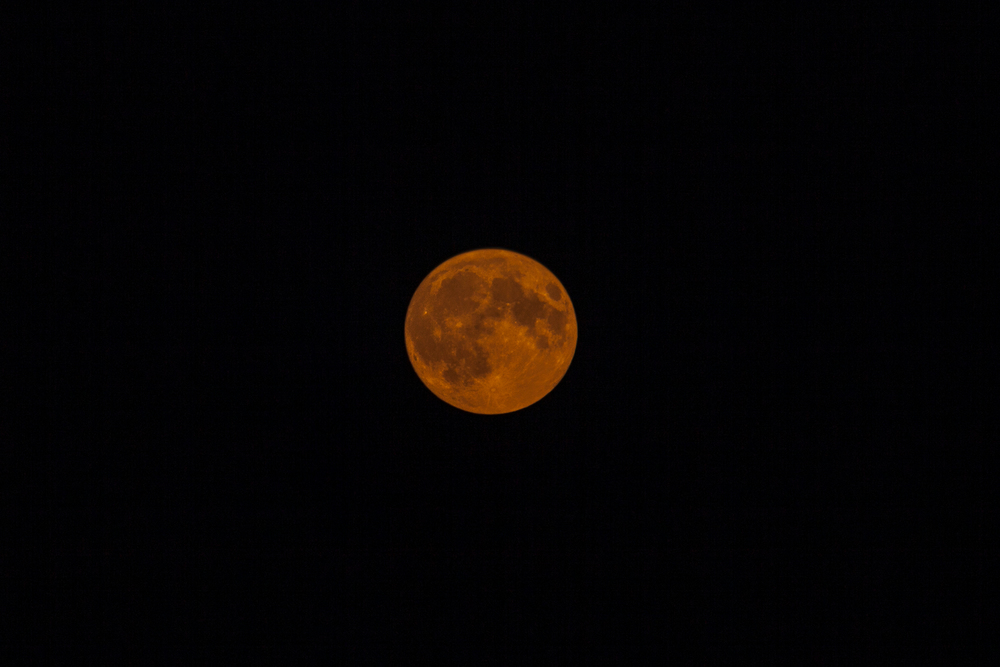 Super Blood moon turning blood orange.