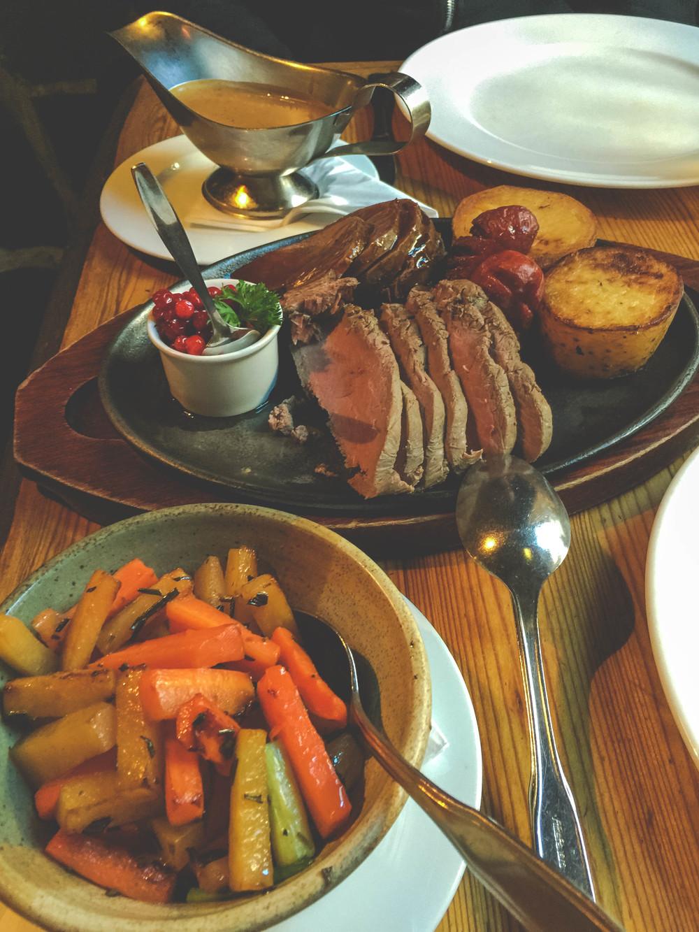 Elk steak, Reindeer sausage and roast reindeer with winter vegetables.