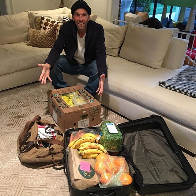 ALL PACKED. Banana game is STRONG. Fruit and Veggie game is STRONG. I'm going to miss my family (and the NCAA tournament). #Unplugging #YesThatsABoxOfBananas #LivingWithAMonk