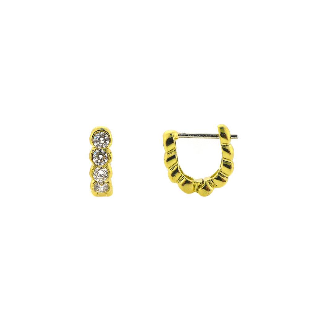 Yellow Gold Diamond Hoop Earrings, $1,450