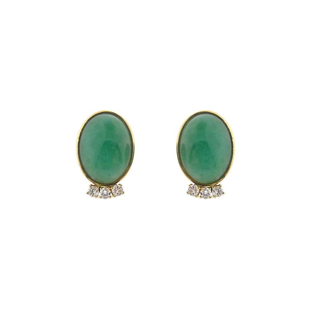 Adventurine & Diamond Earrings, $725